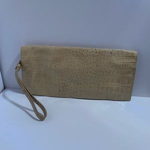 Saks Fifth Ave. Patent Style Clutch, Cream